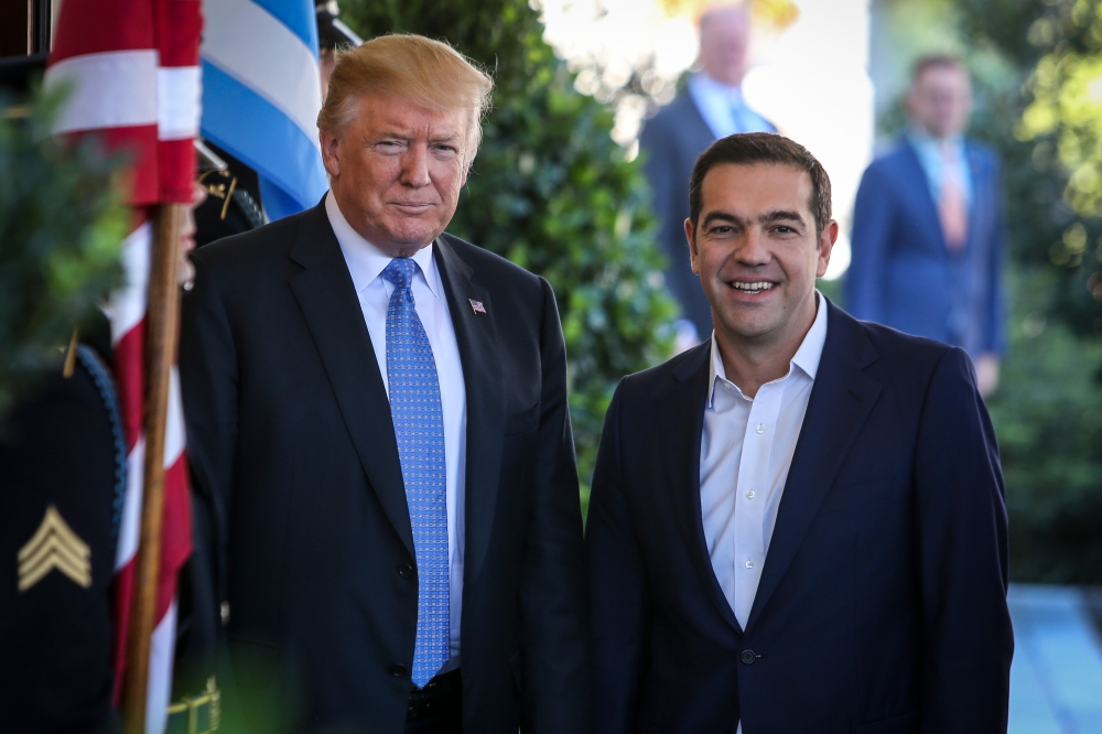 Greek Prime Minister Alexis Tsipras meets President Trump